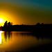 Sun Setting Lake Fayetteville by Paul G Newton