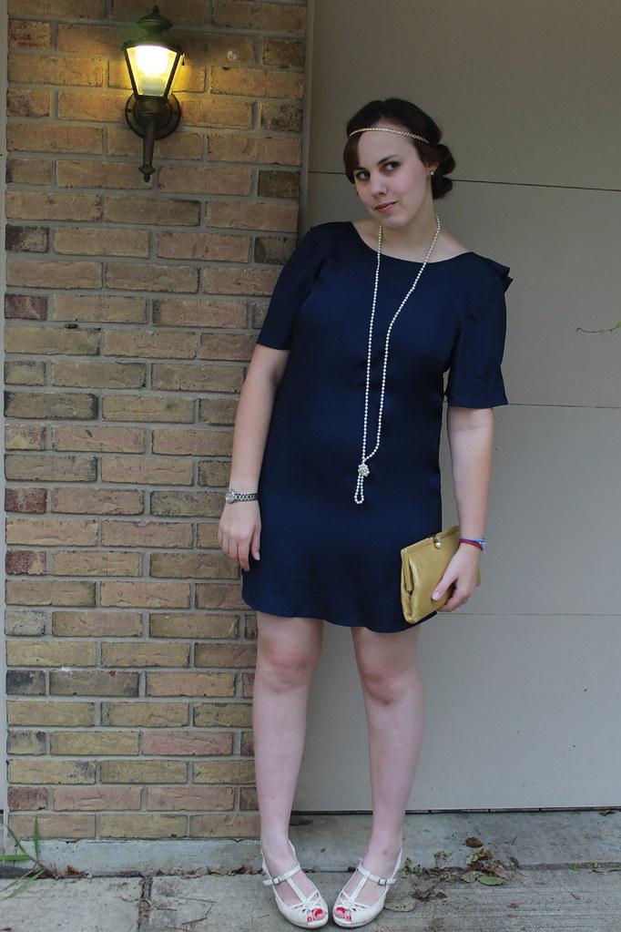 Outfit - Tucker for Target ruffled back dress, vintage gold clutch, Downton Abbey hair