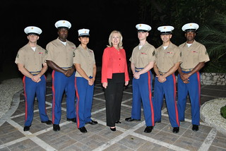 Secretary Clinton Poses for a Photo With the Marine Security Guards