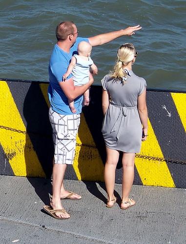 blue sea people usa color colour gulfofmexico fashion yellow ferry america person texas tx bolivar streetphoto atlanticocean 2011 canadagood thisdecade
