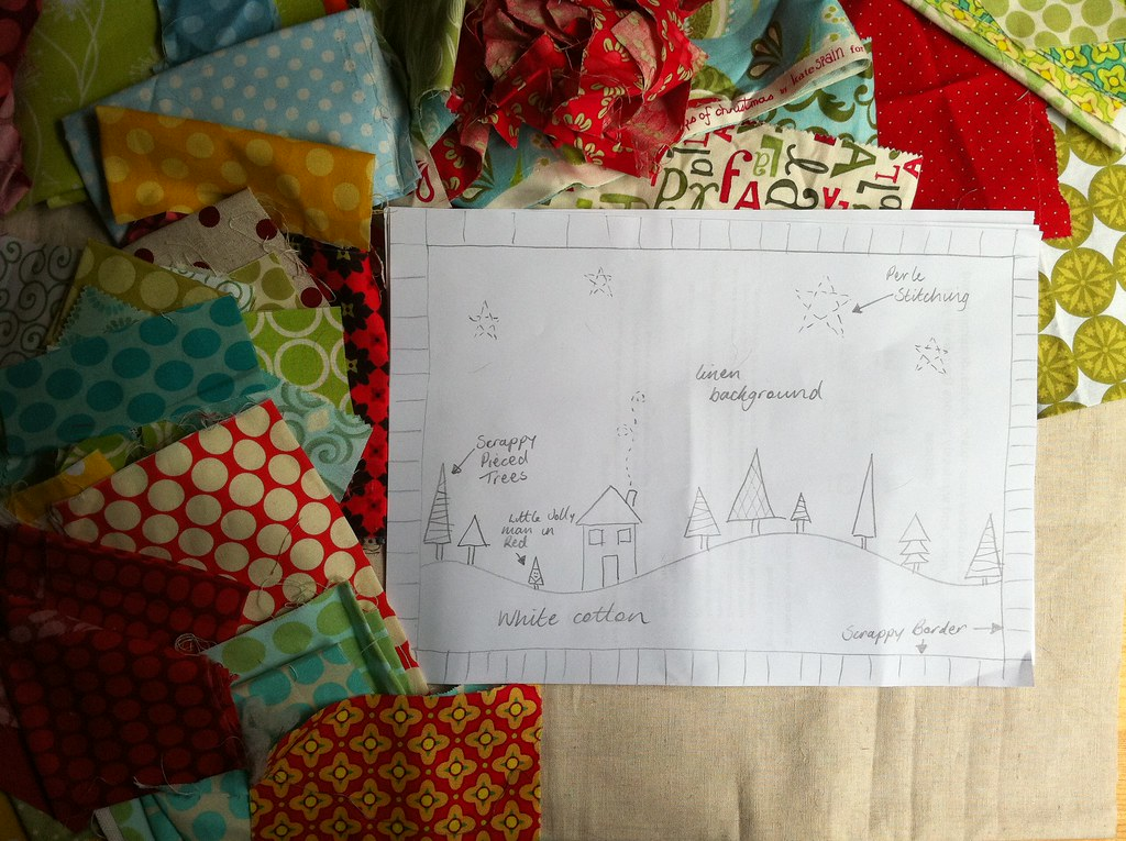 Modern Table Runner Sketch and fabrics