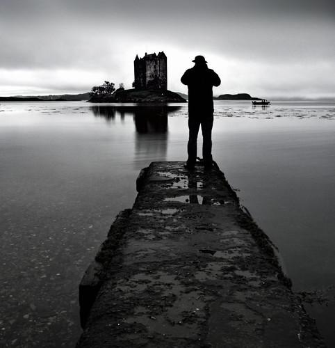 bw castle water monochrome silhouette landscape scotland boat jetty castlestalker lochlinnhe lochlaich redmatrix