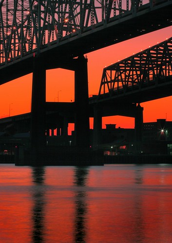 bridge sunset reflection water silhouette louisiana glow cityscape neworleans mississippiriver crescentcity mrgreenjeans gaylon canonef85mmf18usm cresentcityconnection gaylonkeeling