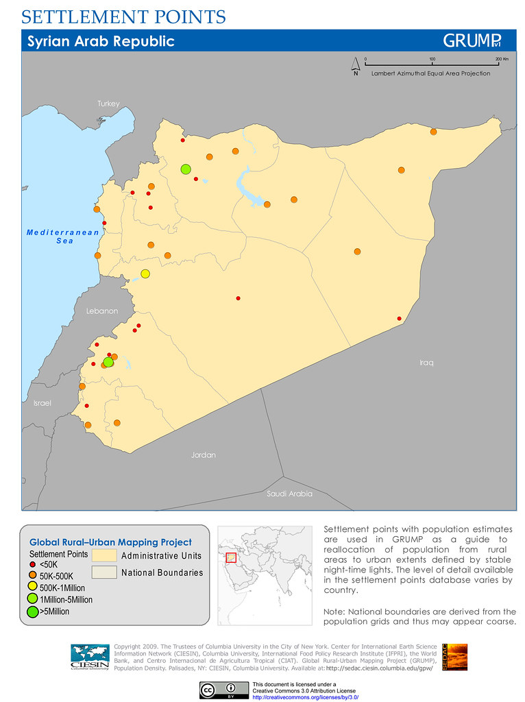 Syria: Settlement Points | Settlement points with population