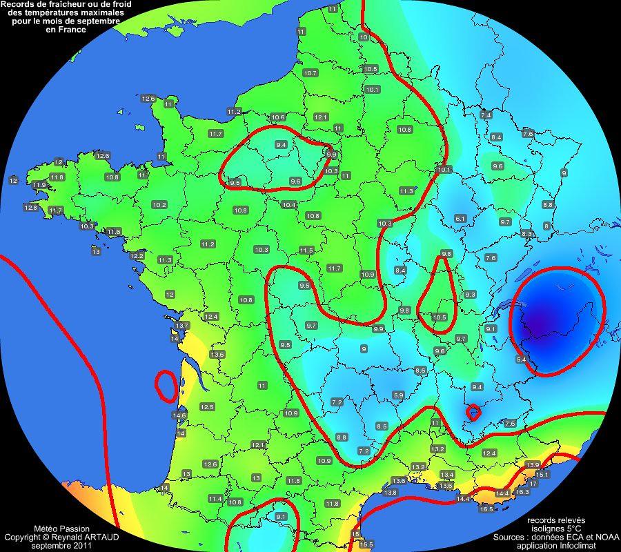 records de fraîcheur ou de froid des températures maximales pour le mois de septembre en France Reynald ARTAUD météopassion