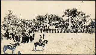 [Cadets from the Royal Military College, Duntroon, on parade and a view of the crowd at the Naming of Canberra ceremony, 12 March 1913]
