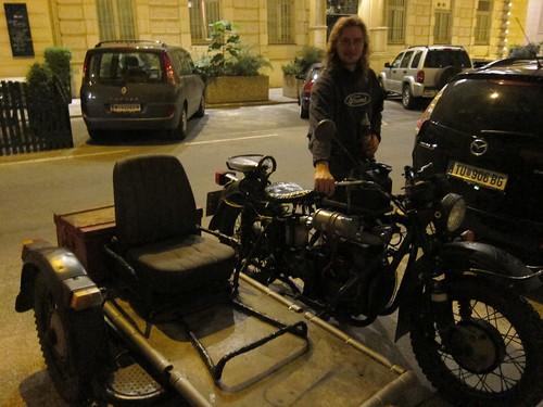 Zem with his self built diesel bike