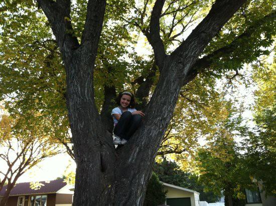 Kaylie in a tree