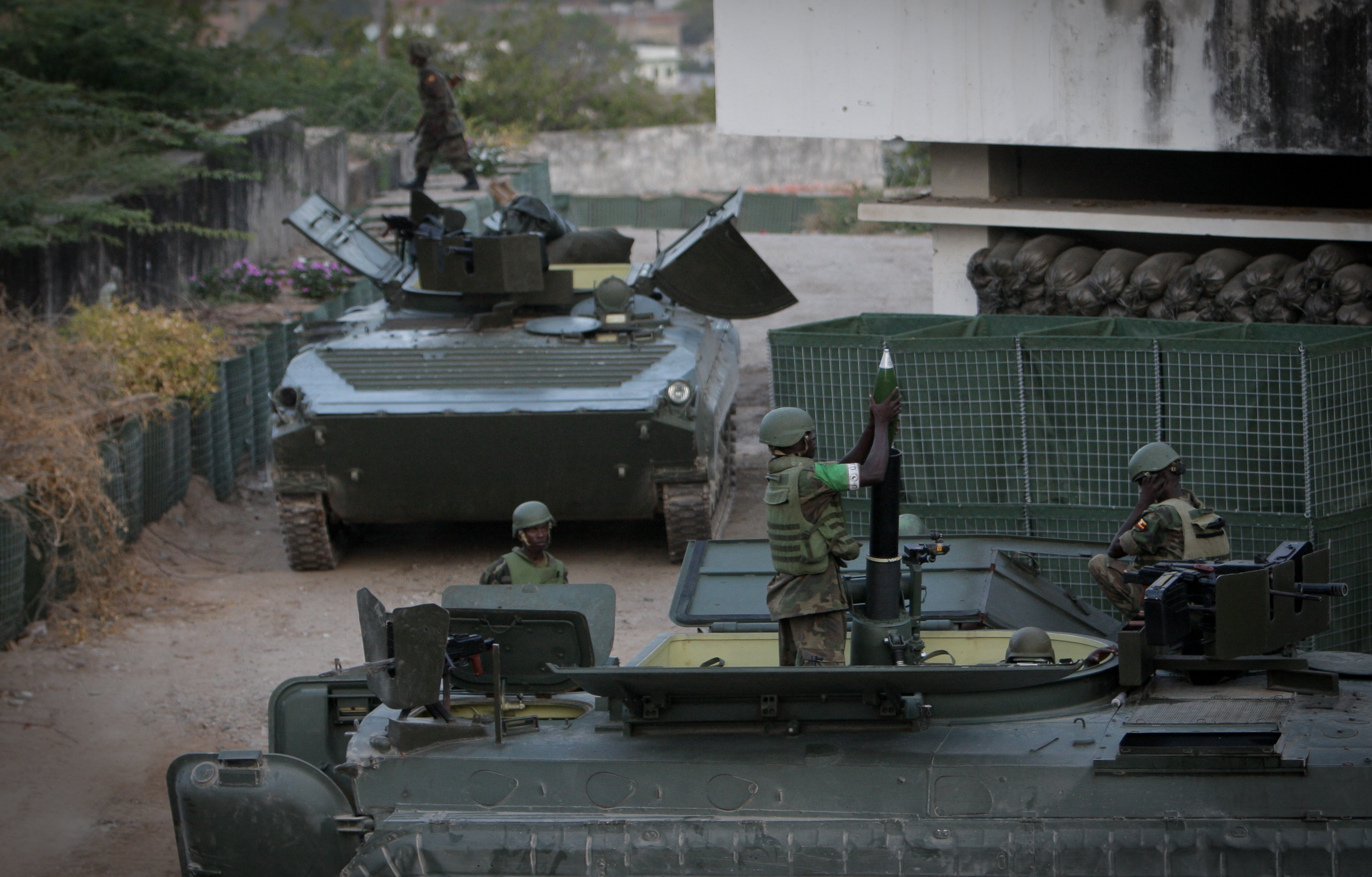 BMP-2 mortar carrier providing fire support for AU troops in Mogadishu
