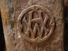 Harland & Wolff logo on shipwreck engine