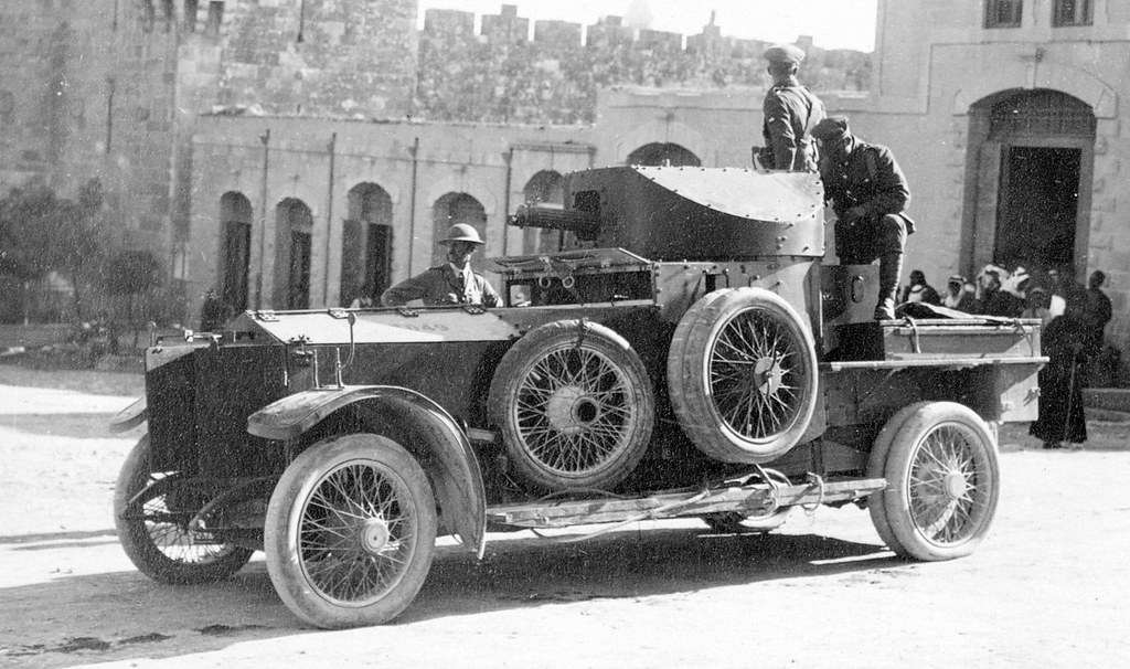 Armoured car at the Damascus Gate during the trouble on the anniversary of the Balfour Declaration, Palestine - circa Nov. 2nd, 1921