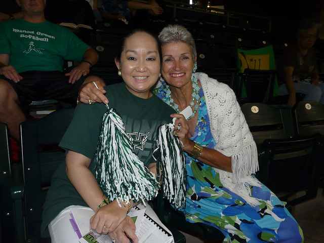 <p>UH Manoa fans Lori Ideta and Jackie Graessle at at UH AUW Softall Tournament 2011 at Les Murakami Stadium on Sept. 30.</p>