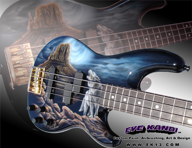 guitar custom painting fender precision bass loner wolf by eye kandi a photo on flickriver. Black Bedroom Furniture Sets. Home Design Ideas