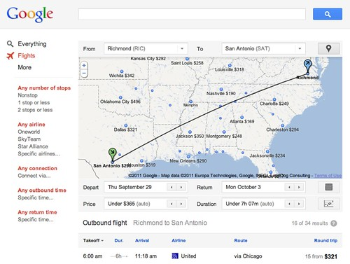 What you will see on Google Flights