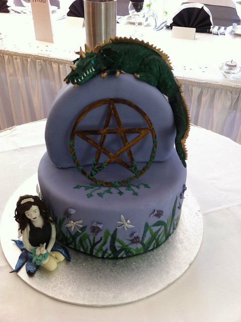 Pagan dragon fairy wedding cake