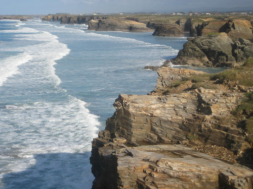 Beach along coast of Galicia Spain