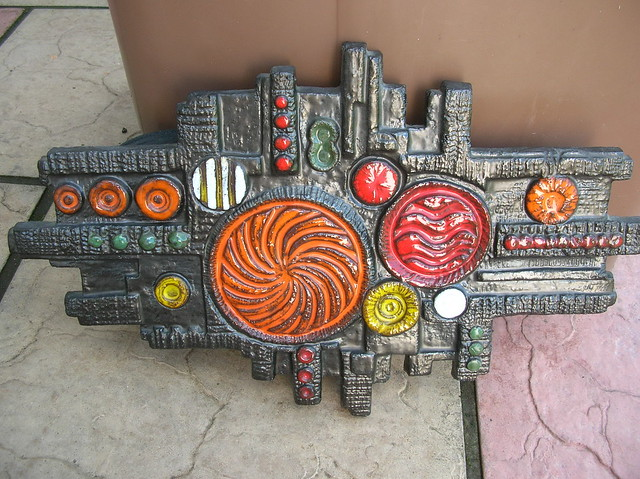 Huge 1960's Studio Pottery Wall Plaque Unknown Maker