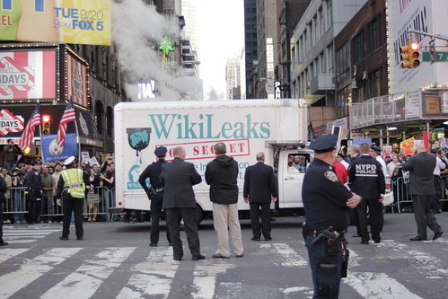 Wikileaks truck and police at Occupy Wall Street