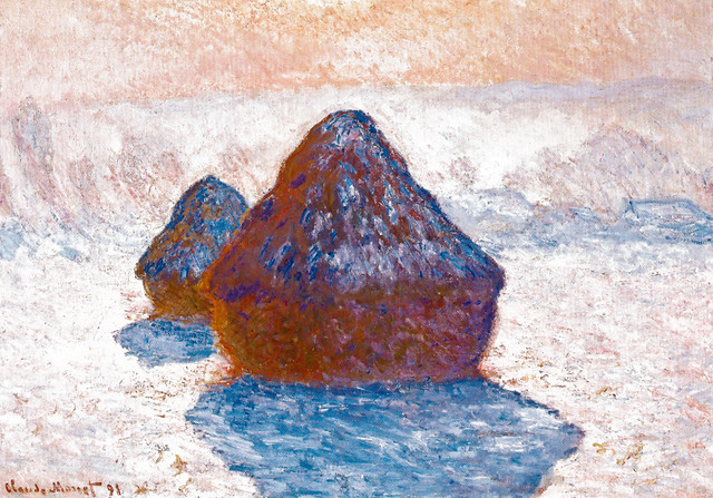 claude monet haystacks effect of snow Claude monet's haystacks: snow effect, will be displayed at the gallery in kendal from friday 12 january until 28 april the painting, dated 1891, is from a series of work widely regarded as among monet's best and is loaned from the national galleries of scotland, edinburgh.