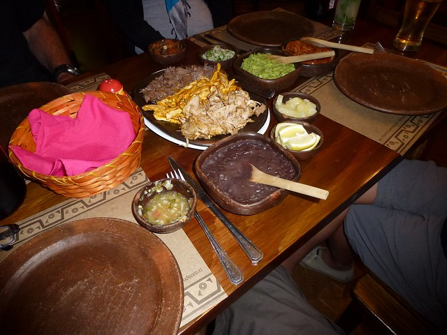 Mexican food in Chile, Beans, Pork, Chicken and lots of sauce