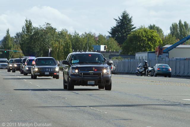 President Obama Departure from Seattle, Washington, September 25, 2011 - Motorcade