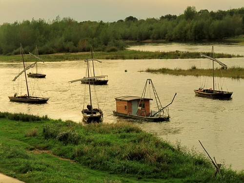 Traditional Loire River Futreau - trading barges we saw on our wooden canoe trip down the river.