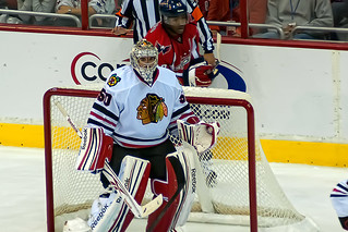 Corey Crawford has a 1.74 GAA and a .935 save percentage in the Stanley Cup Playoffs. (clydeorama/Creative Commons)