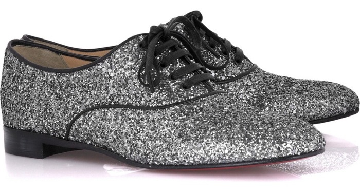 Christian Louboutin's silver glitter lace-up shoes
