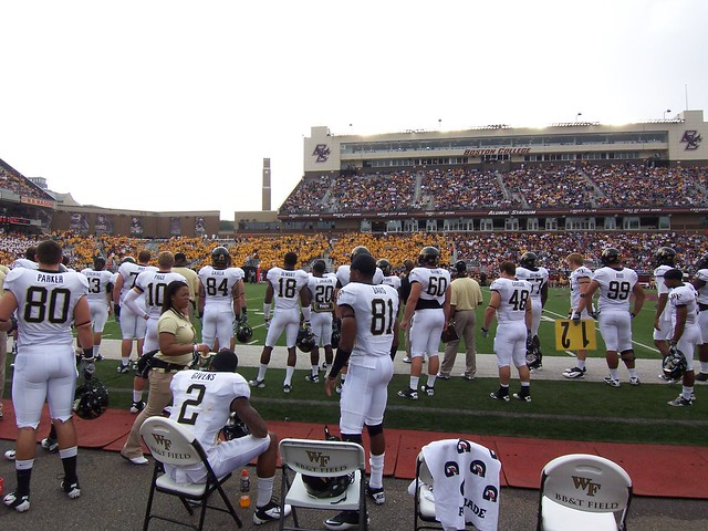 behind the wake forest bench