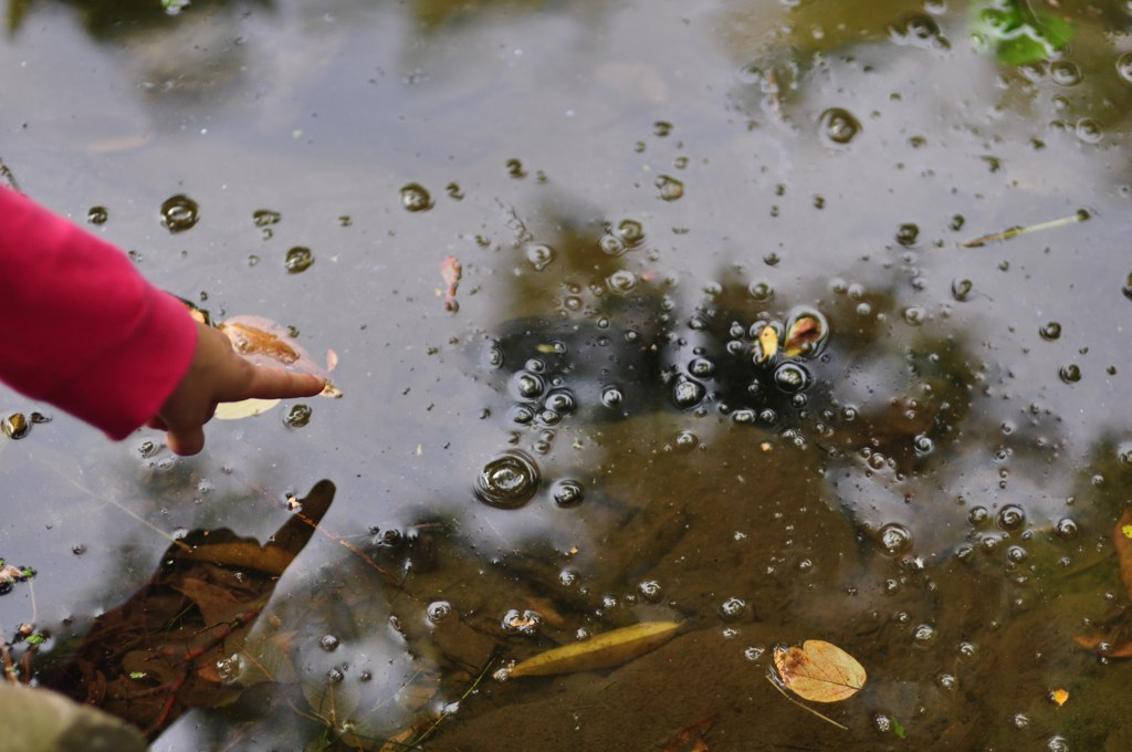 Photo of girl putting her finger in a stream by Ann Voskamp.