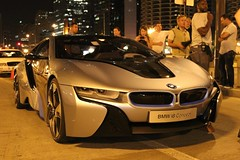 Chicago, 8/16/2011 - Onlookers gather around a BMW i8 Concept electric sports car on Wacker Drive.