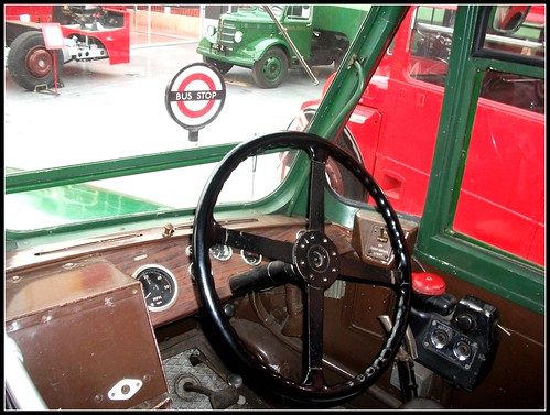 London transport GS34 drivers cab . London Bus Museum 18/09/11.
