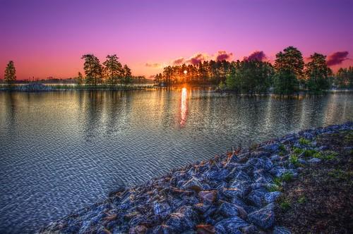 lake sunrise finland fi hdr kuopio