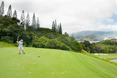 The famous third tee drop on the Makai Golf Course over looking Hanalei Bay Kauai - Matt's drive was perfect right onto the green below
