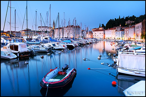 Piran - Piran Harbour and St. George's Church in the distance