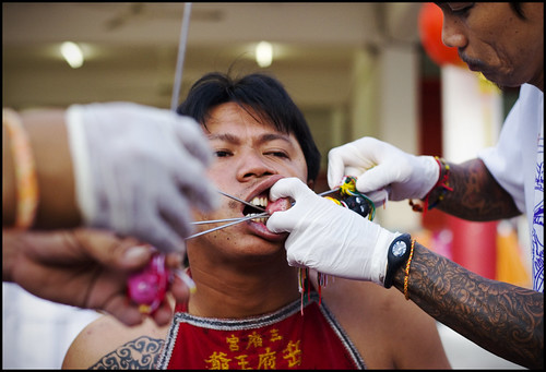 Face Piercing at Sam Kong Shrine 30th September
