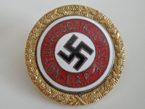 Nazi Badge presented to Eva Braun and signed by Adolph Hitler