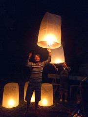 Lighting the wish lanterns