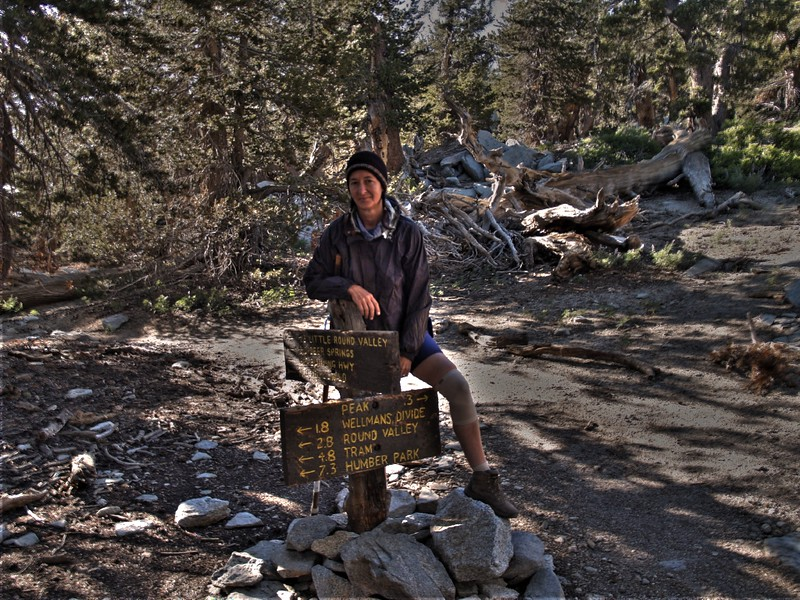 Trail Junction sign on San Jacinto Peak, HDR shot