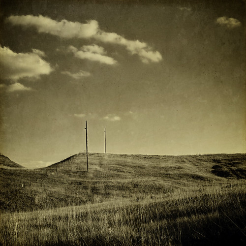road sky blackandwhite texture sepia clouds rural canon vintage square colorado afternoon grunge grassland powerpole fauxvintage texturesquared t1i