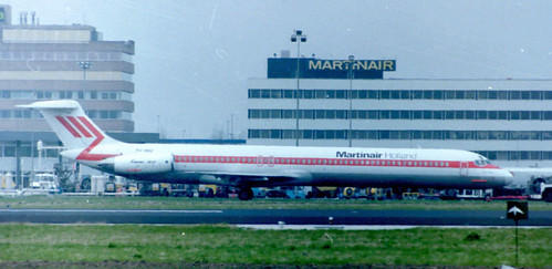 """Back to the Eighties"" Martinair McDonnell Douglas MD82 (PH-MBZ) taxiing in front of the old Martinair building at Schiphol (29-04-1986)"