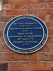 Photo of Button Gwinnett blue plaque