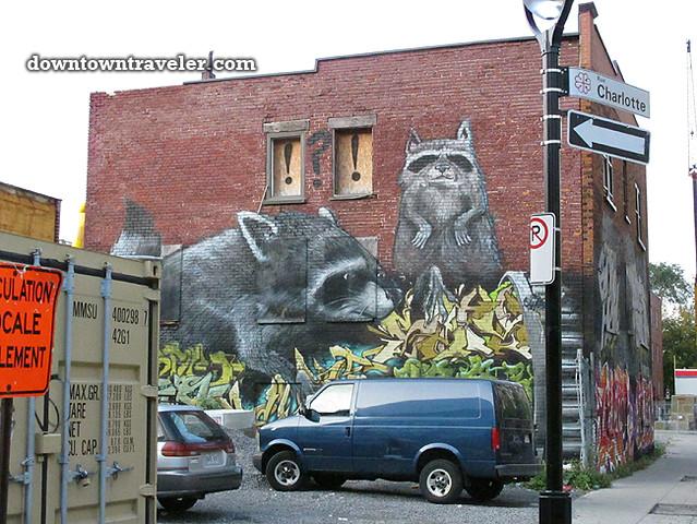 Montreal giant raccoon street art September 2011