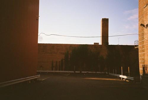 autumn building fall film wall analog 35mm lomo lomography parkinglot fuji ivy lomolca september 400 2011 eauclairewisconsin