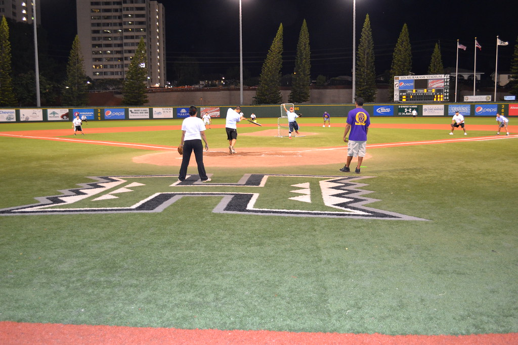 <p>Teams played on the UH Rainbow Warrior home field in the UH AUW Softball Tourment at Les Murakami Stadium on Sept. 30, 2011</p>