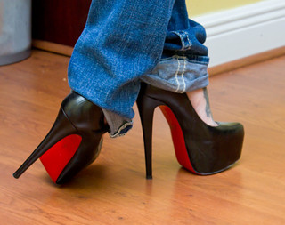 Christian Louboutin- Black Leather Daffodile