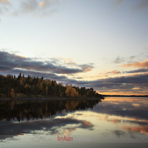 autumn sunset lake evening relfections glassy fallcolours