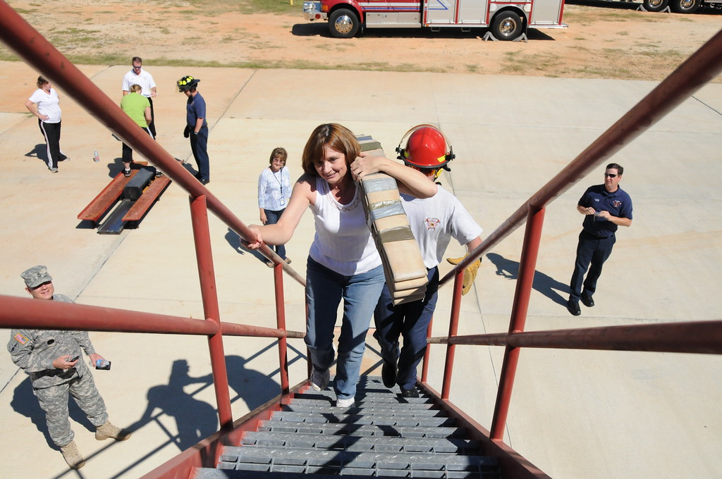 Employees experience firefighter training