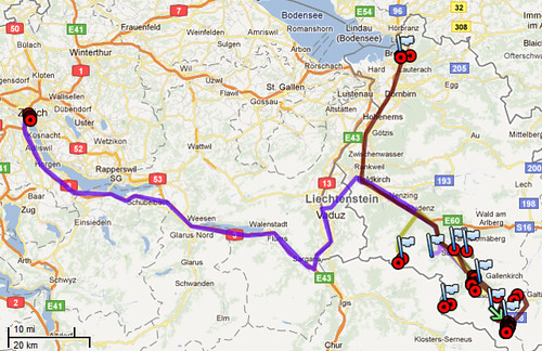 Tyrol 2011 travel map
