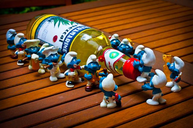 Schtroumpfer la bouteille